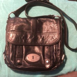 Fossil black leather cross body bag